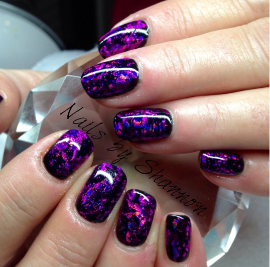 dark purple mermaid nails that match the asian magenta mermaid tail