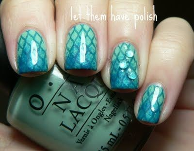 mermaid scale nails with a blue to green ombre design