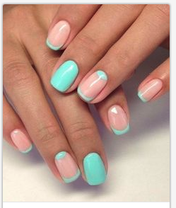 coral and mint nails on a white background