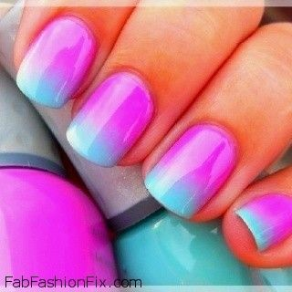 fuschia and blue ombre mermaid nails