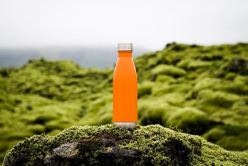 an orange water bottle sitting on a mossy rock