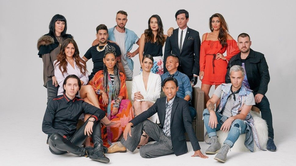 the Project Runway cast, featuring Seth Aaron