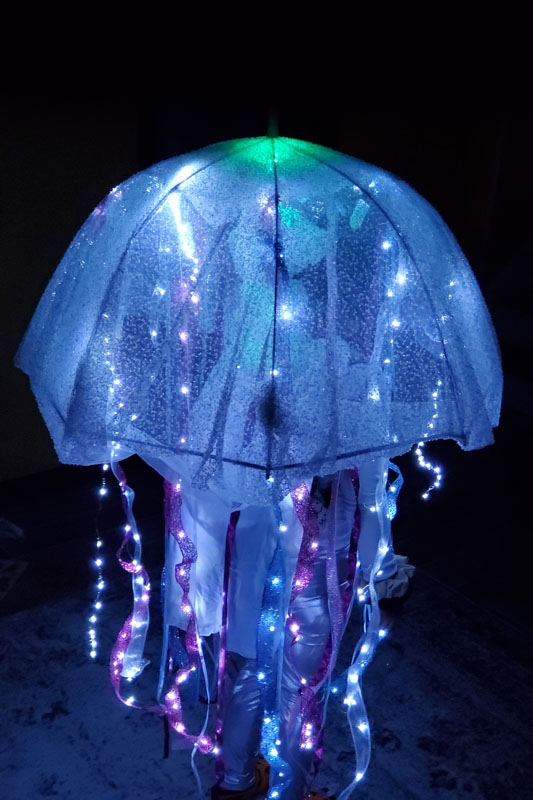 A homemade jellyfish costume the lights up