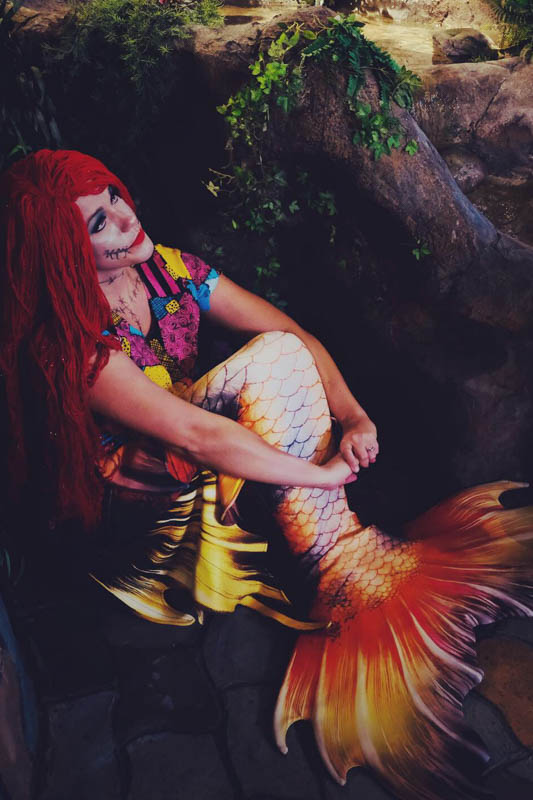 """a girl portraying Sally from """"The Nightmare Before Christmas"""" as a mermaid"""