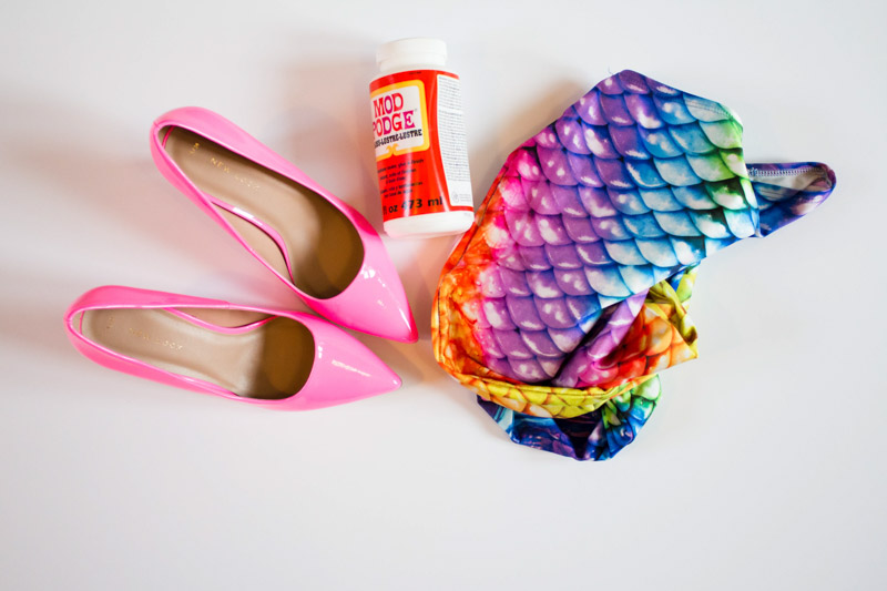 Image shows the needed supplies to make mermaid shoes.
