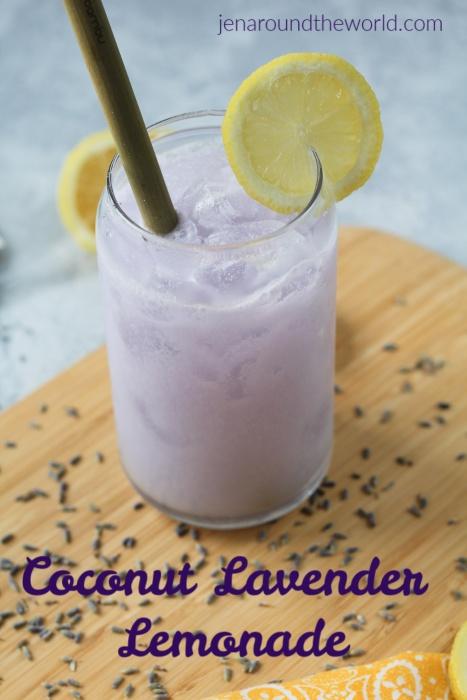 a refreshing lavendar drink with a lemon slice garnish