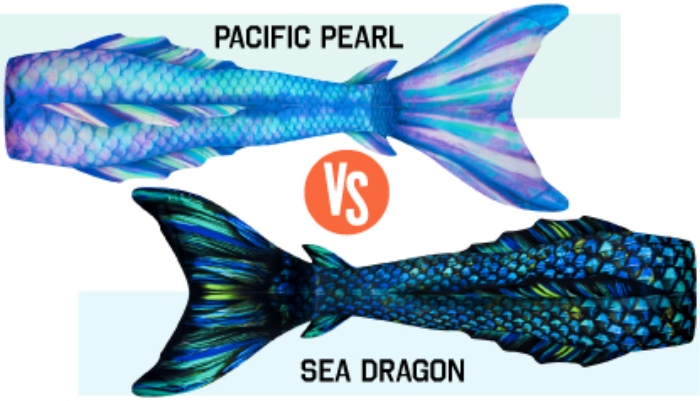 the final two swimmable mermaid tails: Pacific Pearl and Sea Dragon