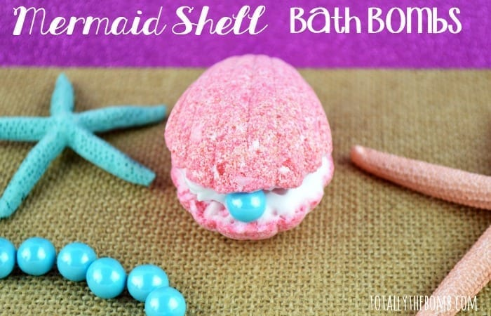 a pink seashell bath bomb