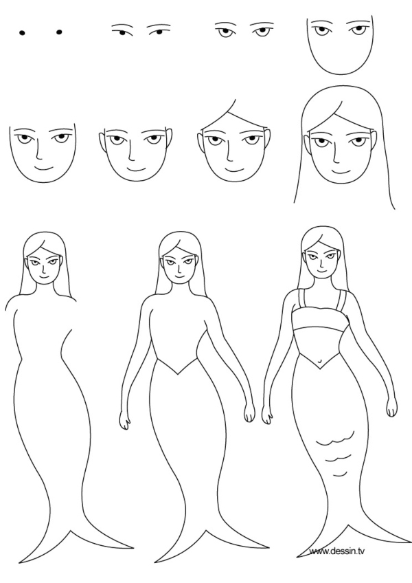 step by step guide to draw a mermaid simply