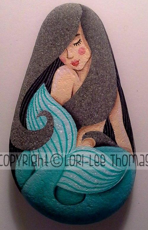 mermaid rock painting