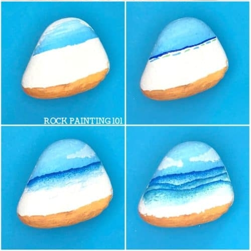 step by step painting of a beach landscape on a rock