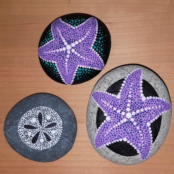 starfish and sand dollar dot painted rocks