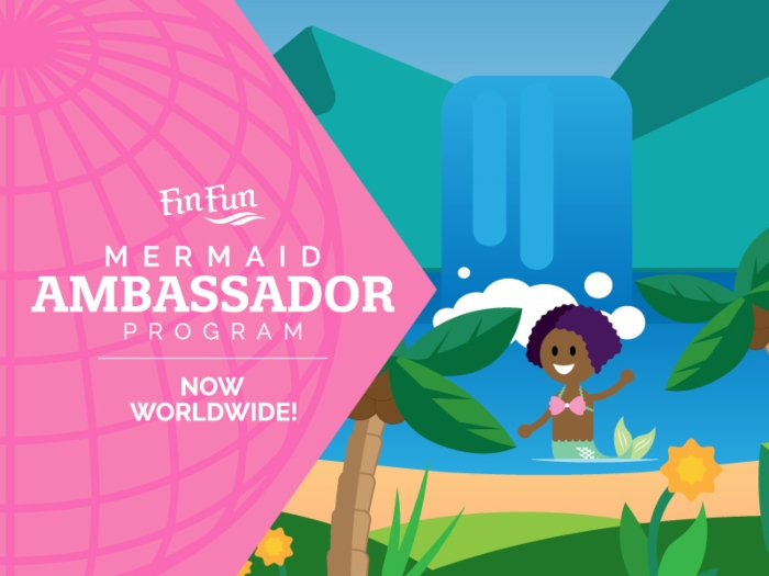 cartoon of a mermaid in the water and waving with text stating that the Fin Fun Mermaid Ambassador Program is now worldwide