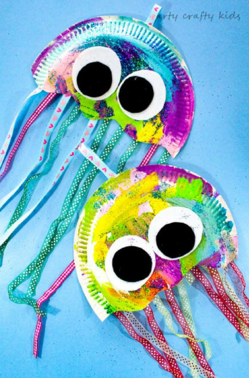 colorful jellyfish made with paper plates  and other art supplies