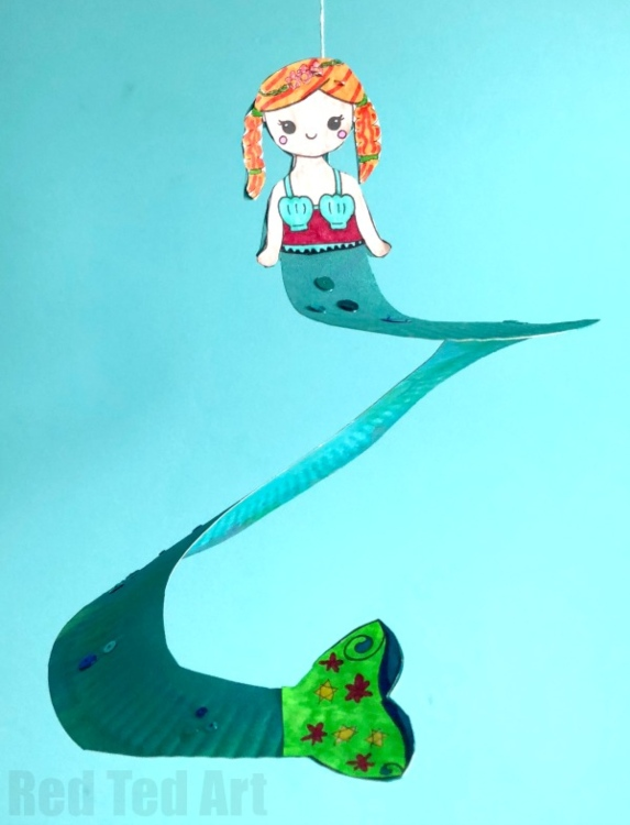 mermaid paper plate craft with printable cutouts