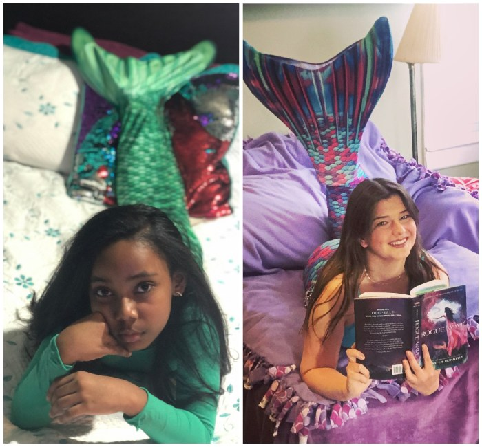 two different photos of girls wearing mermaid tails and laying on blankets