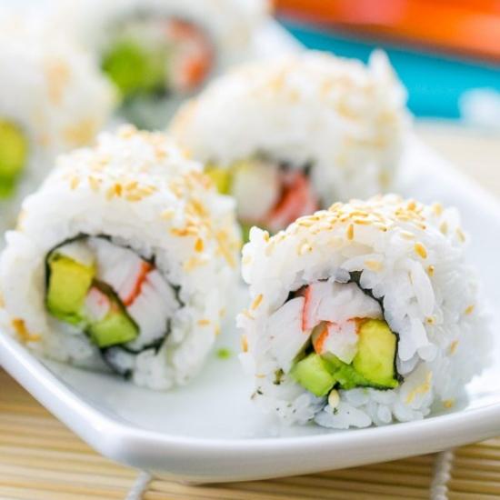 plates California roll sushi from Natasha's Kitchen