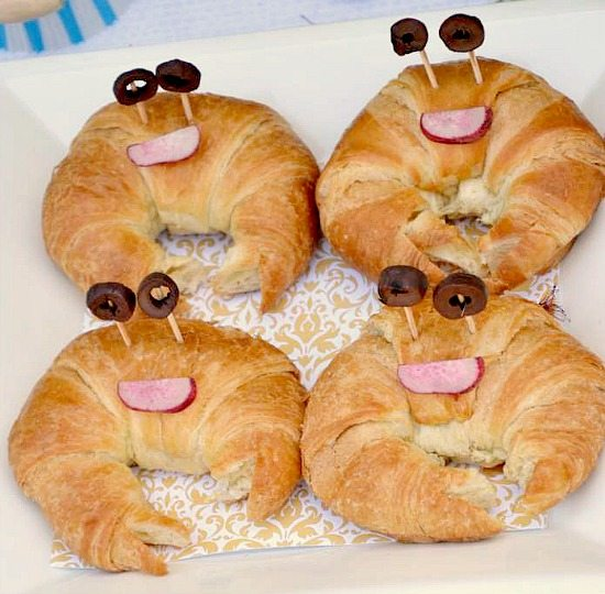 four croissants made to look like crabs