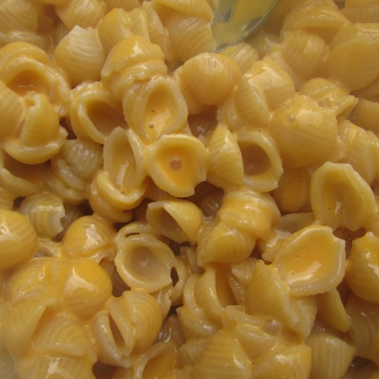 a close up shot of shells and cheese, the perfect mermaid dinner recipe for picky eaters!