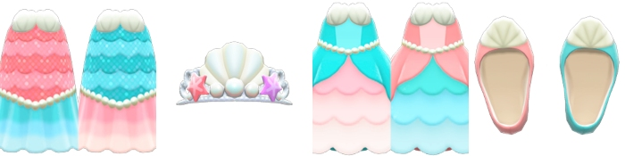 the four different mermaid outfits available in Animal Crossing: New Horizons