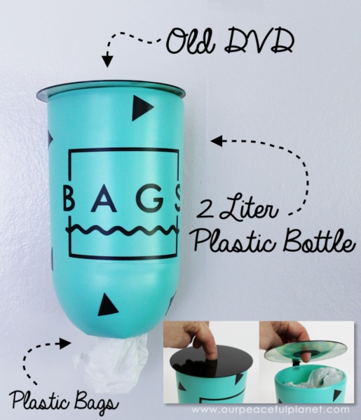 a 2-liter bottle reused to create a cute  plastic bag dispenser