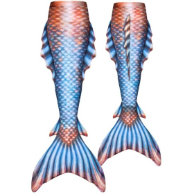 the front and back of the blue and bronze tail that matches the mermaid nails in the tutorial