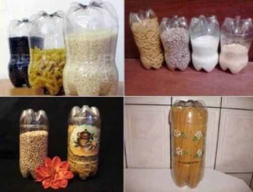 several images showing how you can reuse plastic bottles to store pasta, rice, beans, and other bulk foods