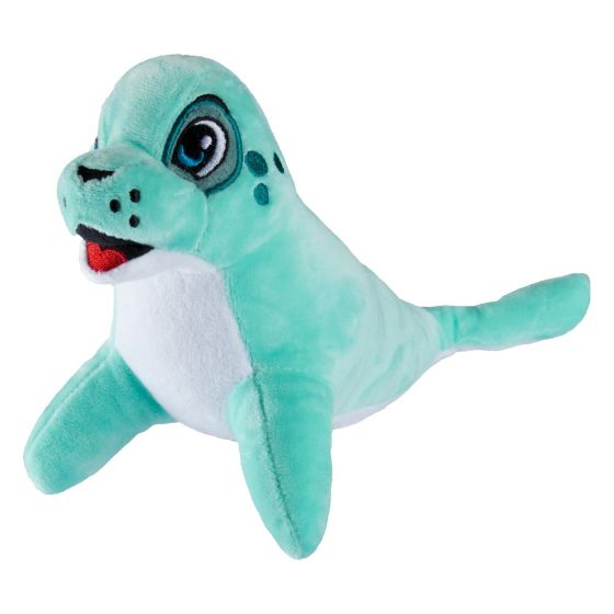 A seal plush toy sits on a white background.