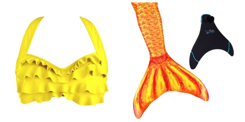 A bright yellow bikini top next to a yellow and orange scaled tail are our picks for a mermaid Belle!