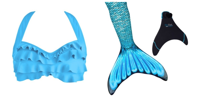 A light blue bikini top and teal and blue mermaid tail (with the Original Monofin) are a great choice if Jasmine wanted a princess mermaid look.