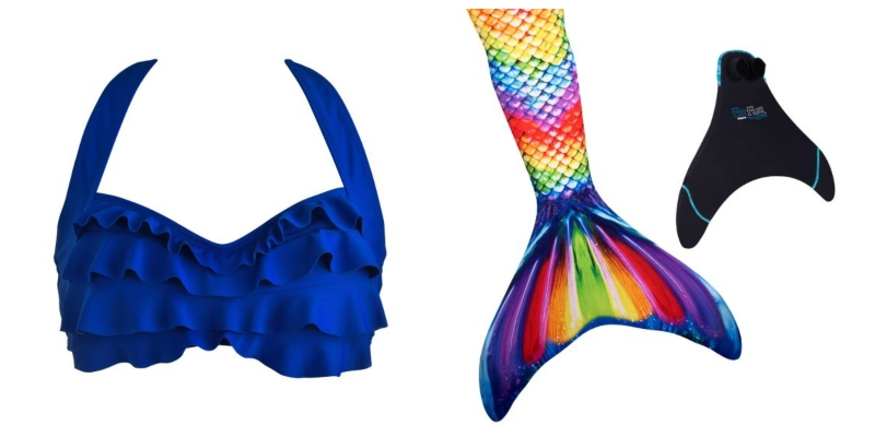 With the colors of the wind in mind, we selected a royal blue top and rainbow mermaid tail for Pocahontas's mermaid princess look.