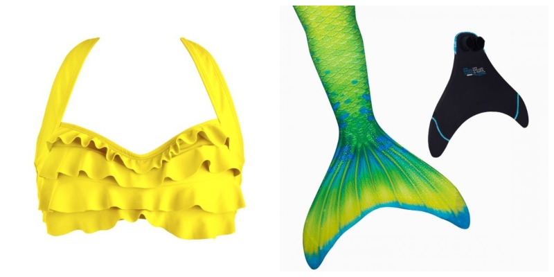 We suggest a yellow top and yellow, green, and blue scale mermaid tail for Tiana.