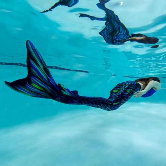 An underwater shot of the Sea Dragon Atlantis mermaid tail for swimming.