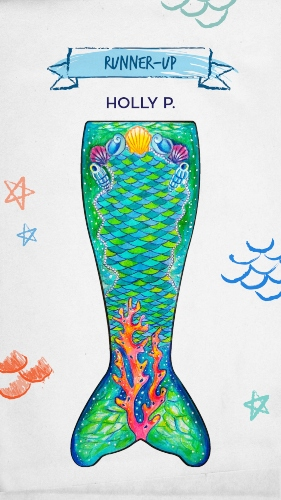 a mermaid tail design with green and blue scales with shells and the waist and coral sprouting from the fluke