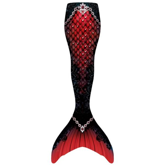 a red mermaid tail with a black lace pattern on the sides and jewels along the hips and ankles on a white background