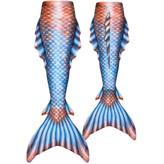 a blue and bronze tail with 3D side, ankle, and dorsal fins