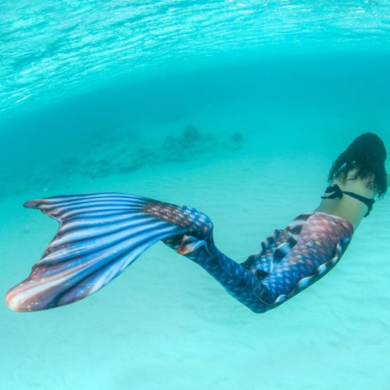 an underwater shot of a girl in a bronze and blue mermaid tail swimming in the ocean